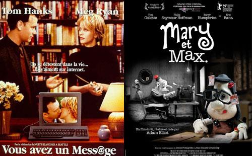 《电子情缘》《玛丽和马克思》电影海报