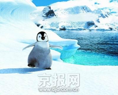 一群电脑设计的企鹅演绎的动画片《快乐大脚》; 企鹅看起来很可爱