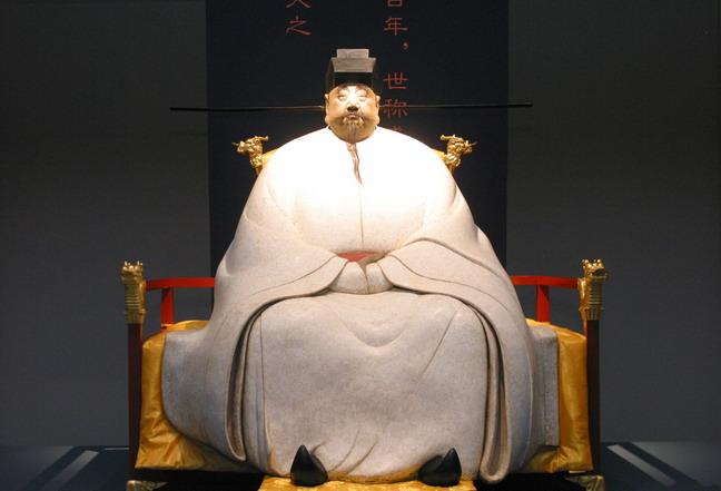 現場展出的田世信雕塑作品:《宋太祖》。本報記者  方雲偉攝